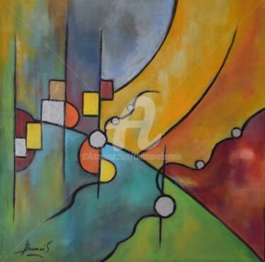 Peinture Géométrique, acrylique, abstrait, œuvre d'art par Christiane Bernais